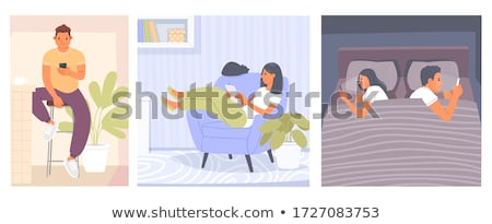 couples lying using tablet on bed stock photo © vichie81