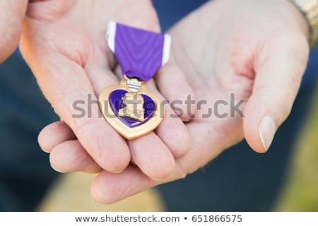 Male Hand Holding the Armed Forces Purple Heart Metal Stock photo © feverpitch