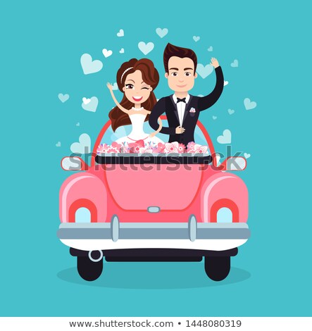 Newlywed Couple Riding Car Waving Hands Vector Stock photo © robuart
