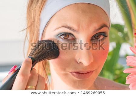 Schoonheid prachtig jonge brunette vrouw gezicht portret Stockfoto © serdechny