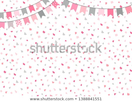 Cute Vector Background In Pink And Grey Colors With Party Bunting Flags For Party And Birthday Desig Stockfoto © Pravokrugulnik