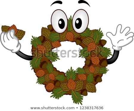 талисман желудь соснового конус осень венок Сток-фото © lenm