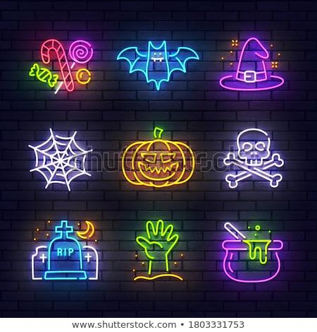 feliz · halloween · néon · fantasma · engraçado - foto stock © voysla