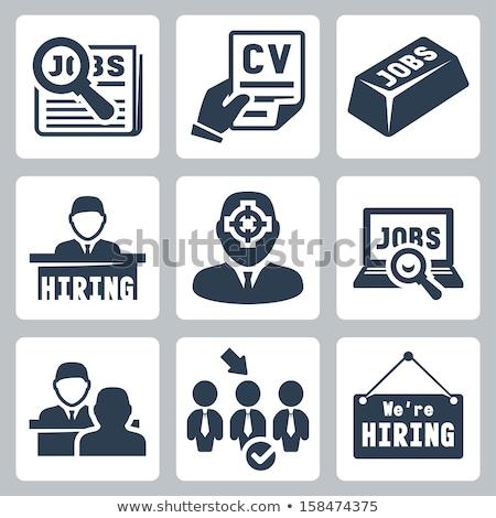 Férfi dolgozik laptop álláskeresés vektor ikon Stock fotó © pikepicture