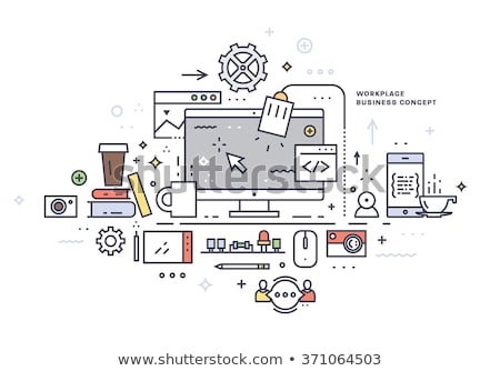 workplace equipment   line design style icons set stock photo © decorwithme