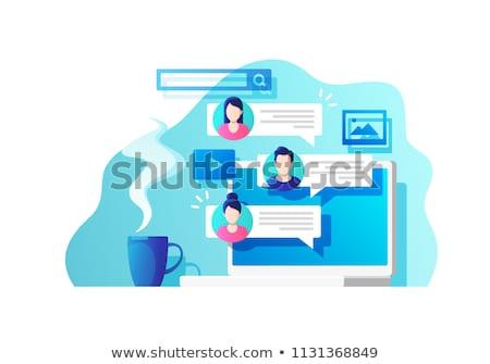 közösségi · háló · beszélget · vektor · globális · kommunikáció · háló · felső - stock fotó © rastudio