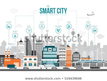 Smart detailhandel stad illustratie paar reusachtig Stockfoto © RAStudio
