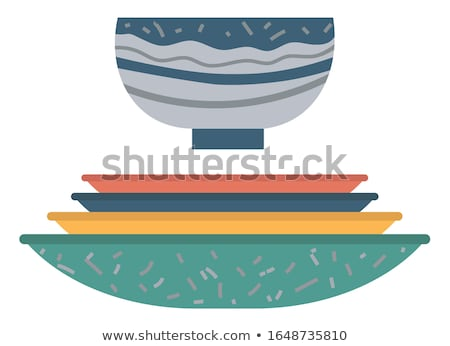 Ceramic Earthenware Flower Pots, Food Bowls Vector Stock photo © robuart