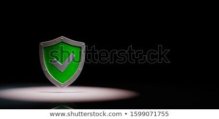 Metallic Shield Shape with Tick Symbol Spotlighted on Black Background Stock photo © make