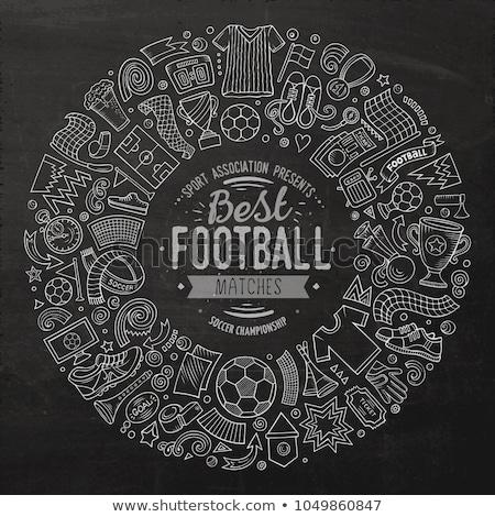Szett rajz firka futball tárgyak kör Stock fotó © balabolka