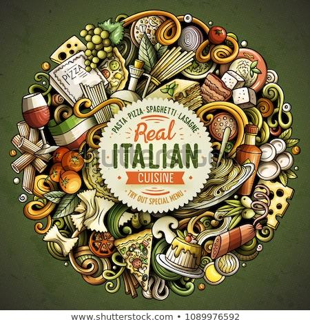 Karikatür vektör karalamalar İtalyan gıda komik örnek Stok fotoğraf © balabolka