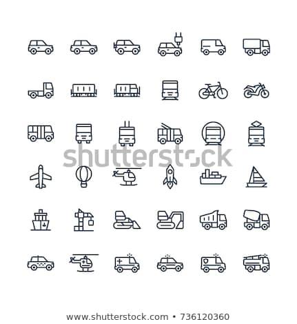 общественном транспорте автомобиль вектора тонкий линия икона Сток-фото © pikepicture