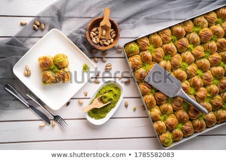 Hagyományos török desszert közelkép kilátás étel Stock fotó © boggy