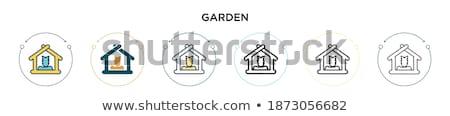 Gardening rake. Filled color icon. Tool vector illustration Stock photo © Imaagio