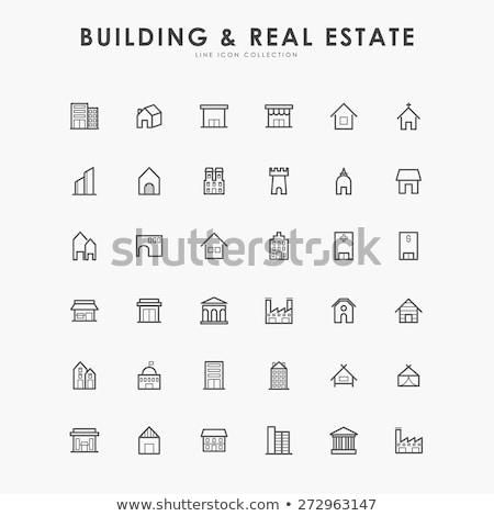 Ludzi mieszkaniowy budynków ikona wektora Zdjęcia stock © pikepicture