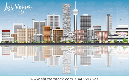 Las Vegas Skyline gris bâtiments ciel bleu réflexions Photo stock © ShustrikS
