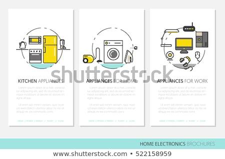 Háztartási gépek vonal terv stílus ikon szett háztartás Stock fotó © Decorwithme