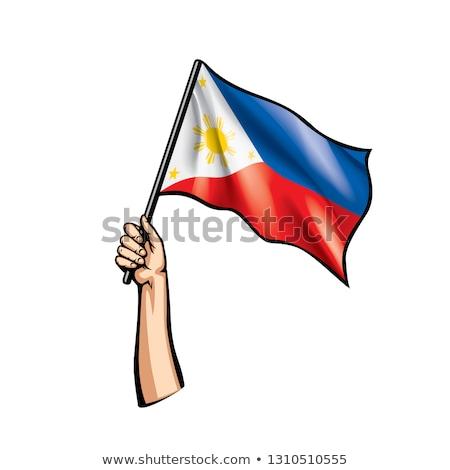 Filipinler bayrak el beyaz kalp özgürlük Stok fotoğraf © butenkow
