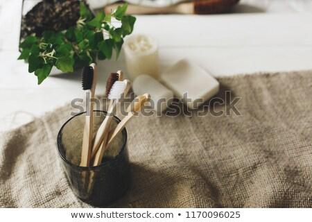 Természetes bambusz fogkefe műanyag rusztikus fenntartható Stock fotó © galitskaya