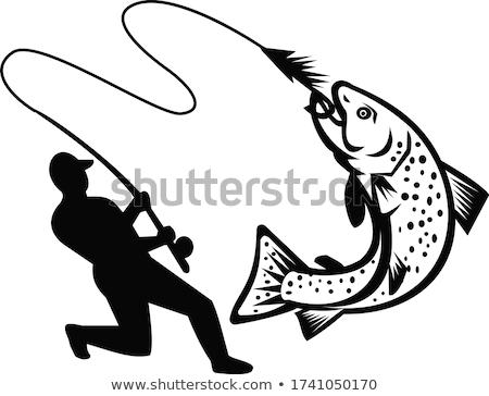 Vliegen visser forel retro zwart wit illustratie Stockfoto © patrimonio