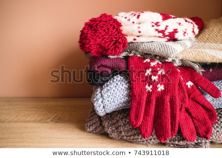 Kış giyim genç kadın yatak Stok fotoğraf © Spectral