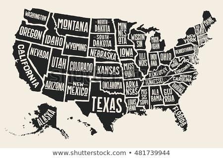 Foto stock: EUA · mapa · cidades · eps · arquivo · separado