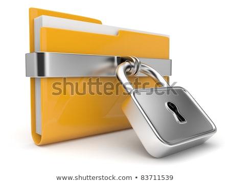 3D · kilitlemek · Klasör · anahtar · veri · sarı - stok fotoğraf © dariusl