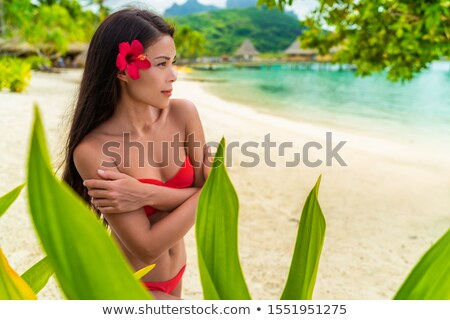 Hosszú hajú gyönyörű fiatal egzotikus kínai lány Stock fotó © darrinhenry
