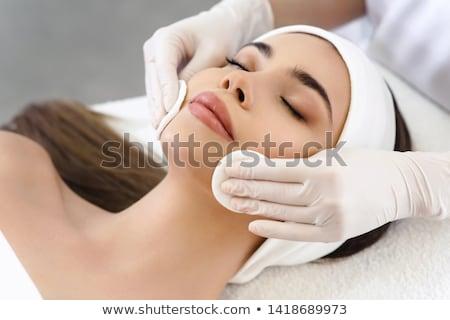 Photo stock: Séance · massage · table · regarder · caméra · portrait