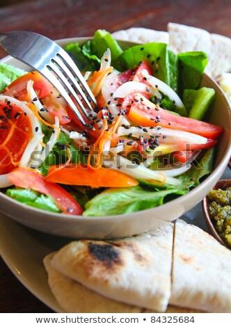 salade · kaas · brood · plaat · lunch · plantaardige - stockfoto © happydancing