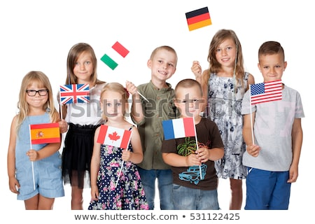 Zdjęcia stock: Girl Holding A Bunch Of National Flags