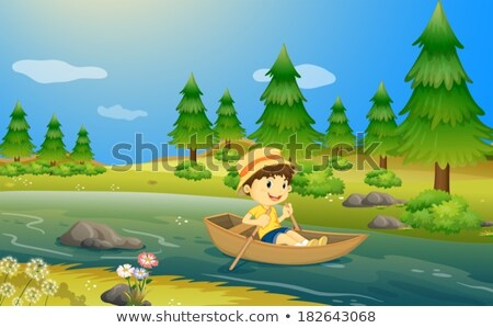 Little boy in the boat with clouds in the river stock photo © pekour