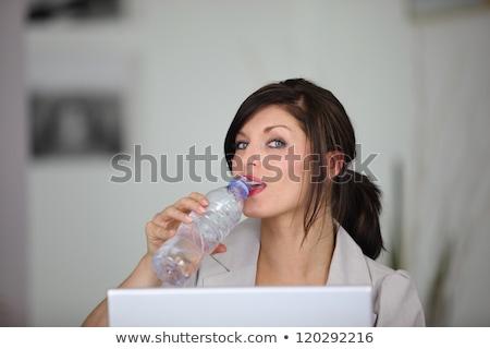 Portré stílusos barna hajú dolgozik laptop üveg Stock fotó © photography33