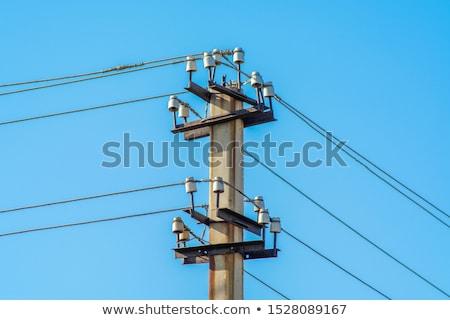 Nagyfeszültség távvezeték kék ég mező technológia kék Stock fotó © artush