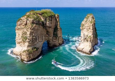 Galamb Libanon tájkép híres helyszín kövek Stock fotó © bbbar