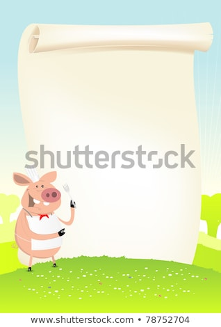 Stock photo: Spring Funny Pig Cook In A Field