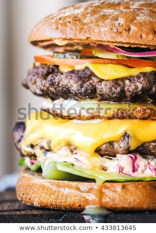 Tasty Double Cheeseburger close up Stock photo © zhekos