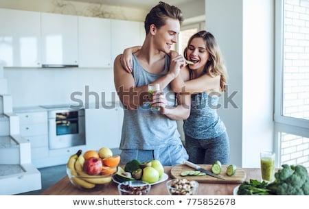 Dieta Pareja grasa hombre cuerpo belleza Foto stock © Vg