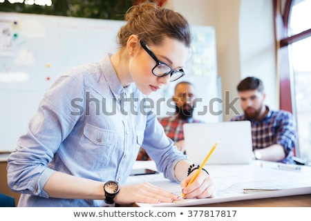 青写真 眼鏡 鉛筆 建設 計画 自動 ストックフォト © broker