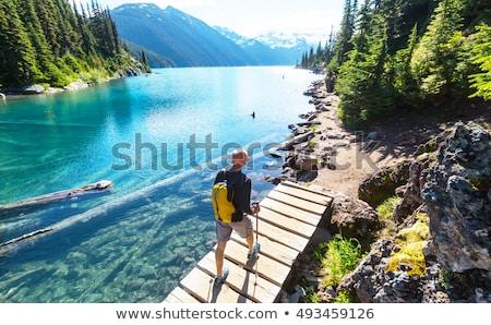 ハイカー グループ 堆石 湖 公園 山 ストックフォト © skylight