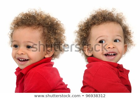 Adorable-looking twins with curly hair Stock photo © photography33
