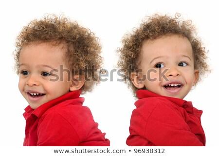 Ikrek göndör haj baba mosoly gyermek haj Stock fotó © photography33
