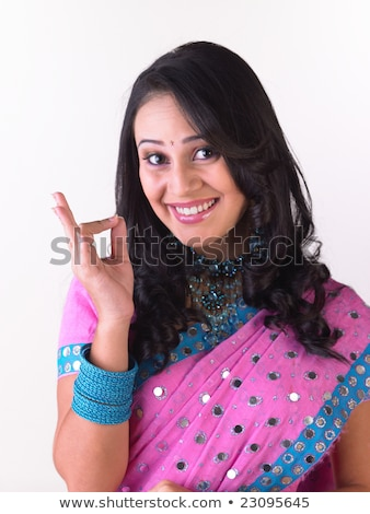 belo · indiano · feliz · mulher · rosa · sorridente - foto stock © ziprashantzi