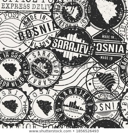 Mail Bosnia Herzegovina imagen sello mapa bandera Foto stock © perysty