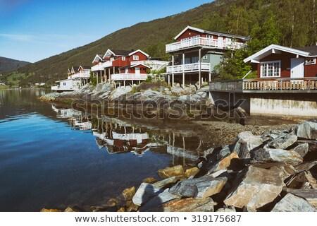 lago · montanhas · distância · céu · azul · viajar - foto stock © jaymudaliar