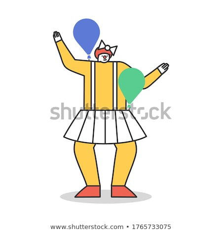 Ridiculous Girl with Colorful Air Balloons Enjoying Stock photo © gromovataya