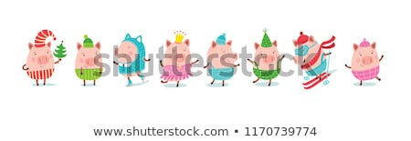 Porco conjunto arte banco engraçado sujeira Foto stock © Genestro