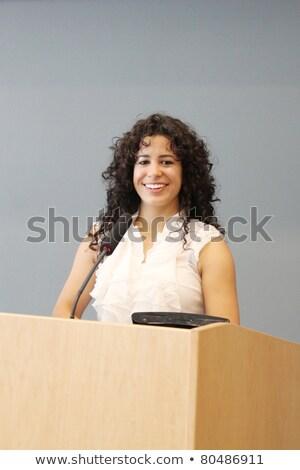 afroamerikai · diák · beszéd · pódium · lány · test - stock fotó © tangducminh