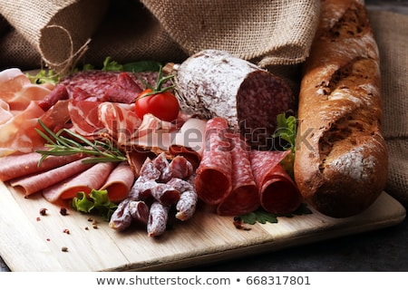 Stock photo: Fresh sausages and salamis