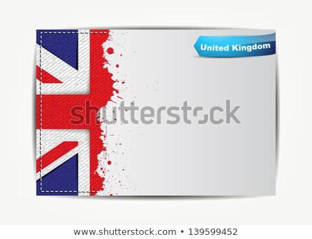 Stitched United Kingdom flag with grunge paper frame Stock photo © maxmitzu